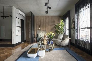 Projeto de Bruno Carvalho com luminária de chão da Golden-Art.